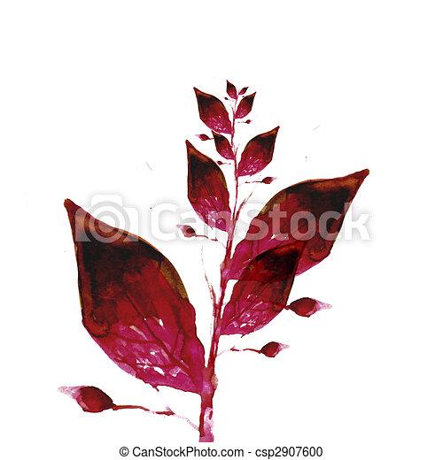 Acuarela, hojas, pintura. Sobre, hojas, ilustración, pintura de ...