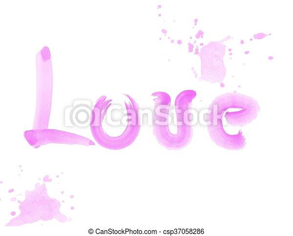 acuarela, letras, amor, cepillo - csp37058286