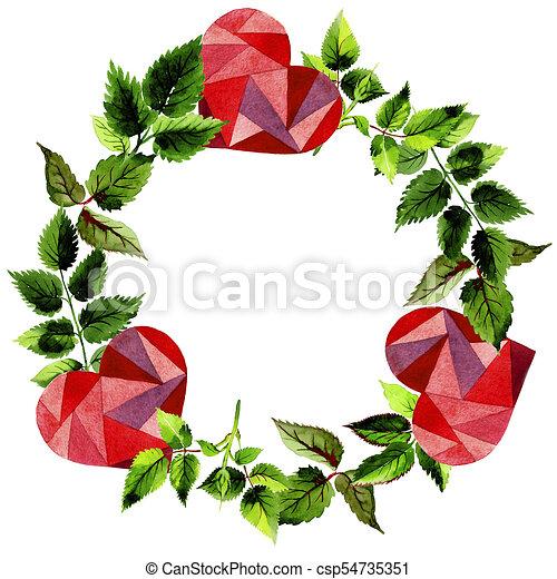 Hojas de corona de rosas en un estilo acuarela. - csp54735351