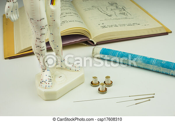 Acupuncture needles, model, textbook and moxa roll - csp17608310