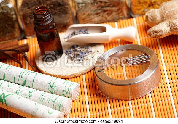 Acupuncture needles, moxa sticks and lavender petals - csp9349094