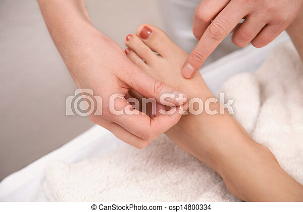 Acupuncture treatment on foot - csp14800334