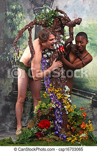 Adam and Eve With Added Theme of Interracial Unions - csp16703065