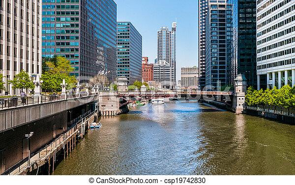 adams, rue, pont, chicago - csp19742830