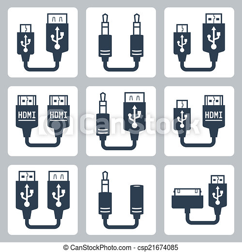 Adapter connectors vector icons set - csp21674085