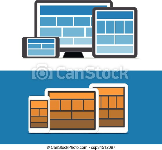 Adaptive design layouts. Web site page templates collection on different devices - csp34512097