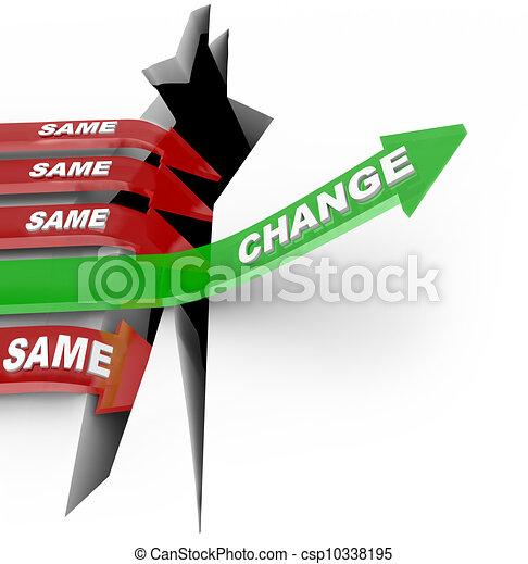 adapts, pilar, samma, misslyckande, vs, pil, stigningen, ändring - csp10338195