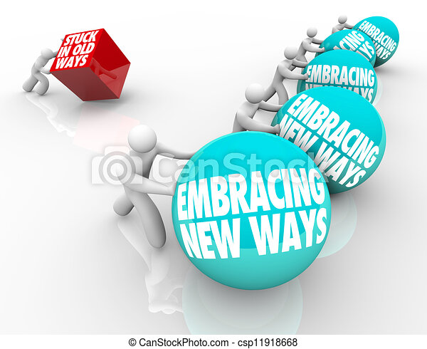 adattando, vecchio, modi, sfida, appiccicato, vs, abbracciare, nuovo, cambiamento - csp11918668