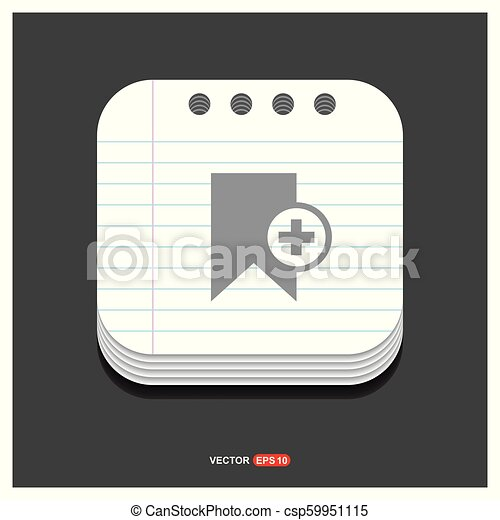 Add Bookmark ribbon icon Gray icon on Notepad Style template Vector EPS 10 Free Icon - csp59951115