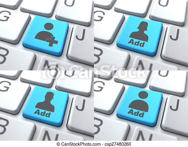 Add Concept - Blue Button on Keyboard. - csp27480260