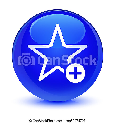 Add to favorite icon glassy blue round button - csp50074727