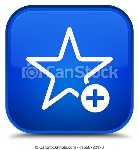 Add to favorite icon special blue square button - csp50722170