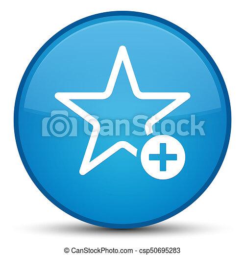 Add to favorite icon special cyan blue round button - csp50695283