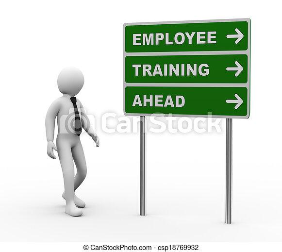 addestramento, avanti, roadsign, impiegato, uomo affari, 3d - csp18769932