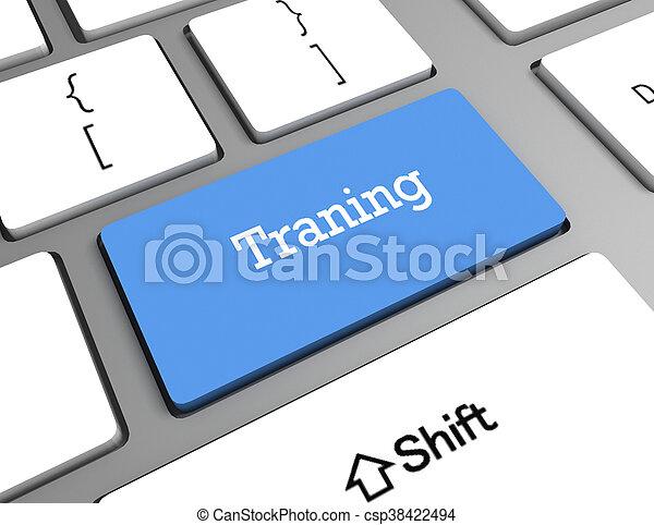 addestramento, parola, tastiera computer, educazione, concept: - csp38422494