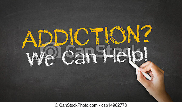 Addiction We can Help Chalk Illustration - csp14962778