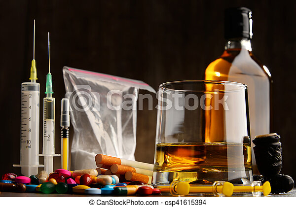 addictive substances, including alcohol, cigarettes and drugs - csp41615394
