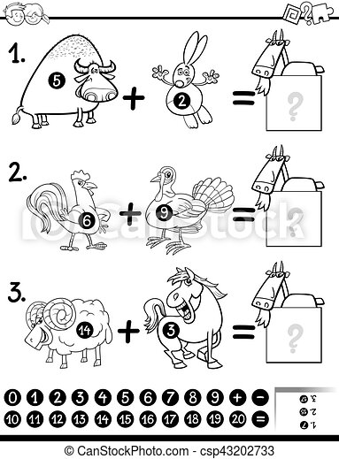 addition activity coloring page - csp43202733