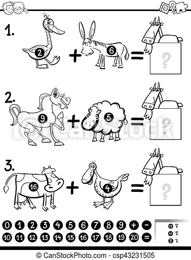addition activity coloring page - csp43231505