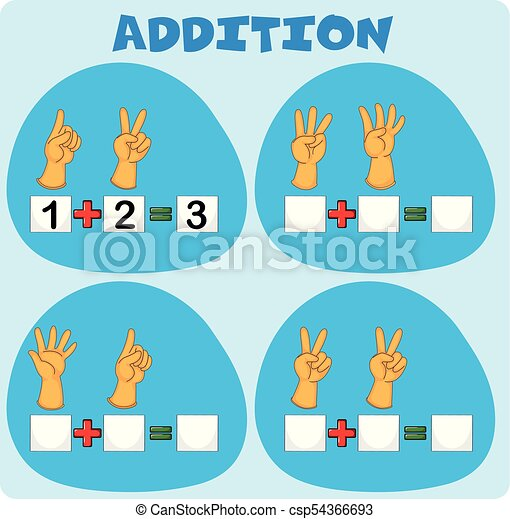 Addition worksheet with fingers illustration.