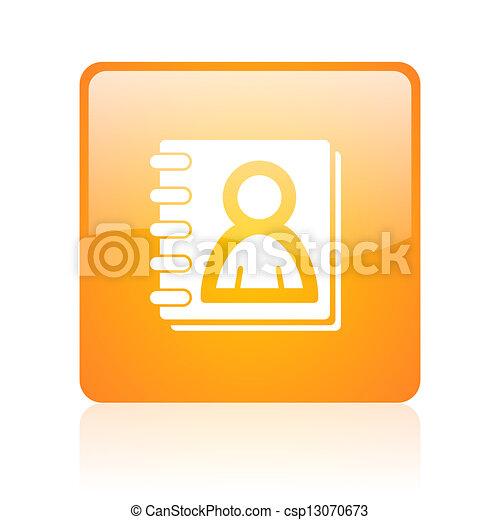 address book orange square glossy web icon - csp13070673