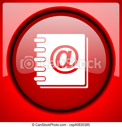 address book red icon plastic glossy button - csp40835385