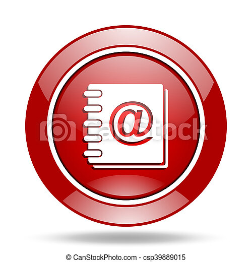 address book red web glossy round icon - csp39889015