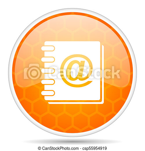 Address book web icon. Round orange glossy internet button for webdesign. - csp55954919
