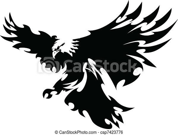 adelaar, vliegen, ontwerp, vleugels, mascotte - csp7423776