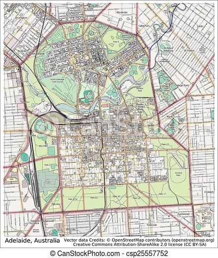 adelaide australia city map csp25557752