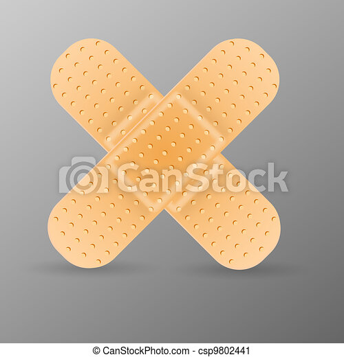 Adhesive bandage isolated on grey background. - csp9802441