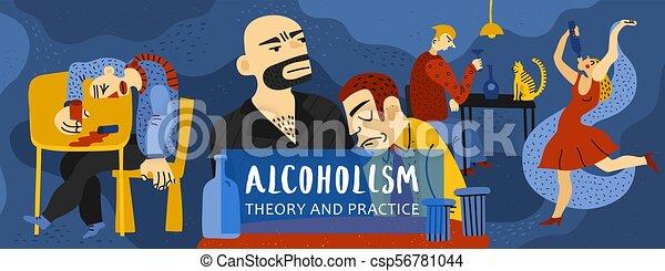 Ilustración de adicción al alcohol - csp56781044