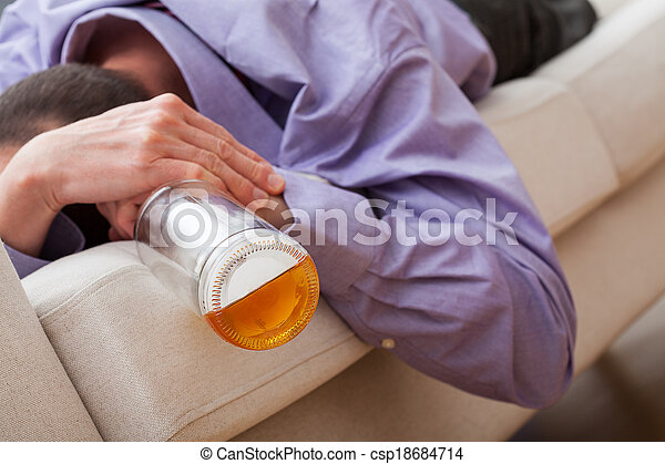 adicto, borracho, alcohol, hombre - csp18684714