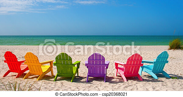 Sillones de playa Adirondack para unas vacaciones de verano en la arena - csp20368021