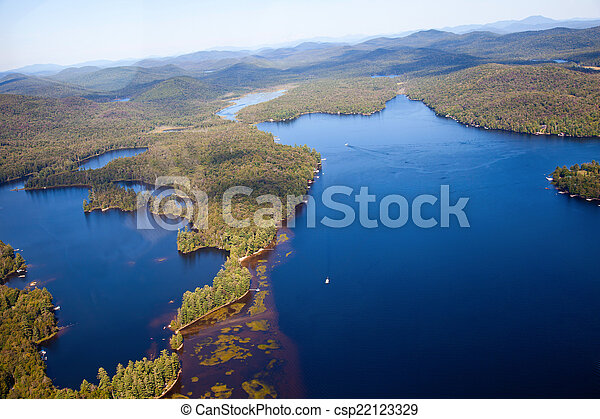 Adirondack forests and lakes summer aerial view from light aircr - csp22123329