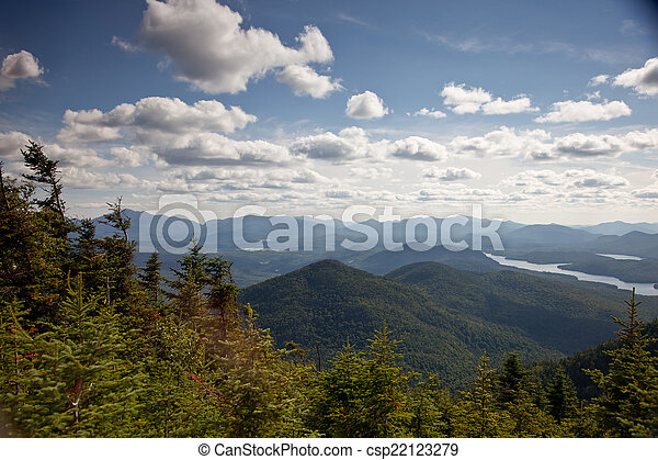 Adirondack mountains forests and lakes landscape  - csp22123279