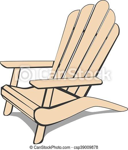 Fantastisk Adirondack stol, strand. Illustration., vektor, adirondack, chair ZD41