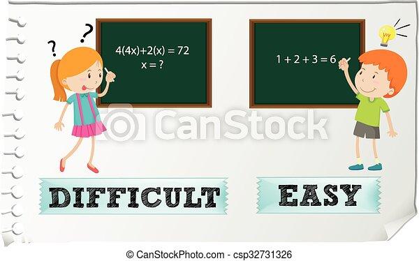 adjectives, oposta, fácil, difícil - csp32731326