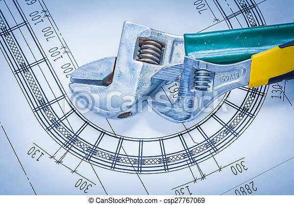 Adjustable spanners on construction blueprint maintenance stock adjustable spanners on construction blueprint maintenance concep csp27767069 malvernweather Choice Image