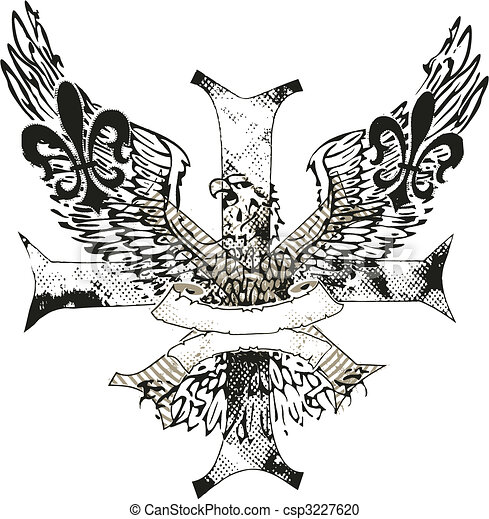 adler, emblem, de, kreuz, fleur, lis - csp3227620