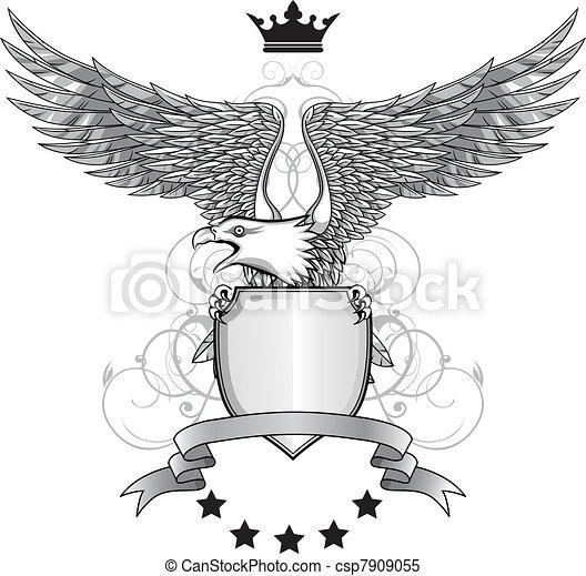adler, emblem, schutzschirm - csp7909055