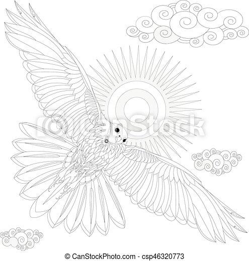 Adler, färbung, erwachsene, buch, vektor, vogel,... Vektoren ...