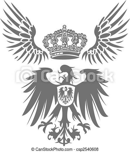 adler, krone, schutzschirm, flügel  - csp2540608
