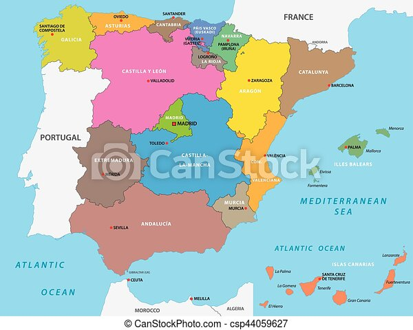 Karta Italien Spanien.Vektor Illustration Av Administrativ Politisk Spanien Karta