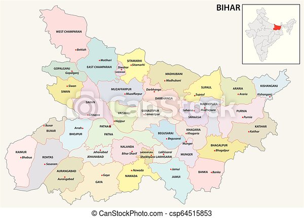 Administrative and political map of indian state of bihar, india.
