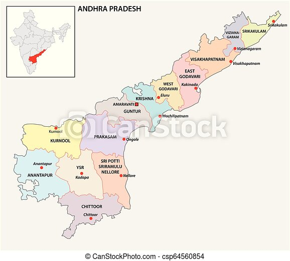 Administrative And Political Map Of Indian State Of Andhra Pradesh