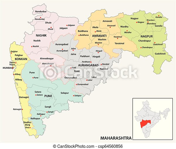 Administrative And Political Map Of Indian State Of Maharashtra India