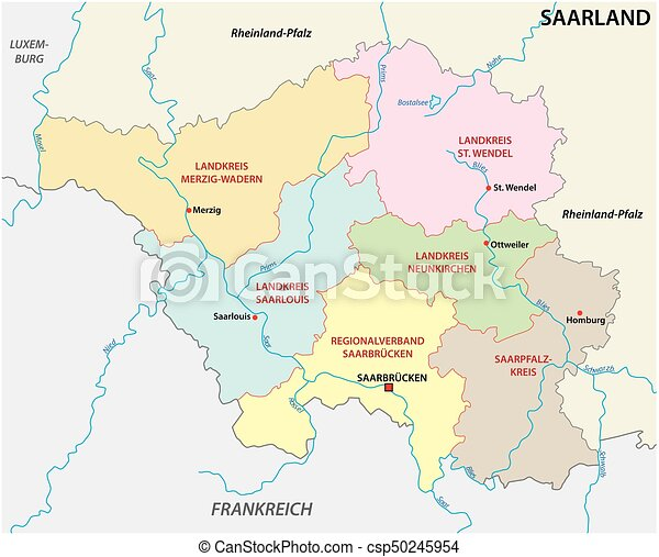 Administrative and political map of the state of saarland in german ...