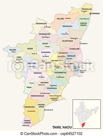 administrative and political map of indian state of Tamil Nadu, india