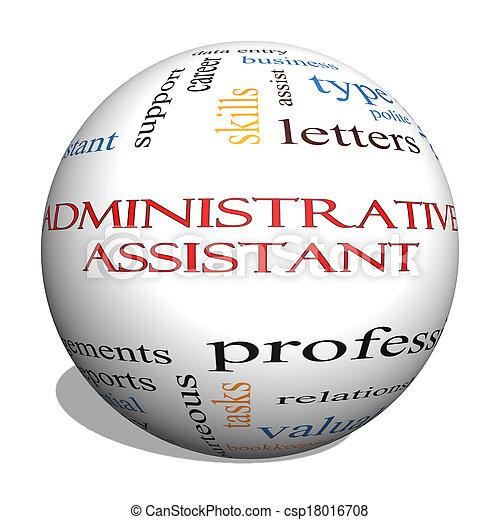 Administrative Assistant 3D Sphere Word Cloud Concept   Csp18016708  Administrative Assistant
